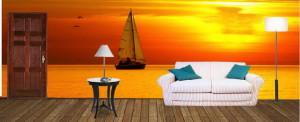Фотообои на заказе - яхта на закате
